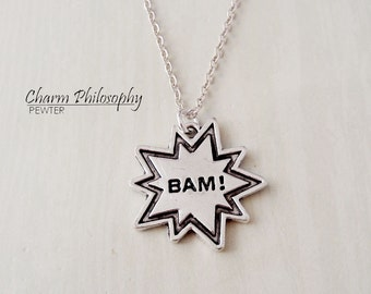 BAM! Necklace - Comic Book Jewelry - Antique Silver Jewelry - Onomatopea Charm
