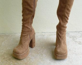 Tan Suede Knee High Black Heel Boots