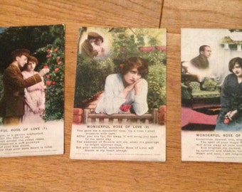 "Vintage Set of 3 WWI Sweet Heart Postcards. ""Wonderful Rose Of Love"" Bamforth Series 4879.  Dated From Around the 1910's."