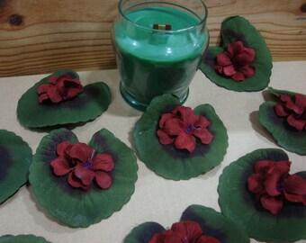 Artificial Flowers. Red Geranium Head with Leaf. Silk Lifelike Geranium Flower. Home Decor, Floral Arrangements. 25 Pieces