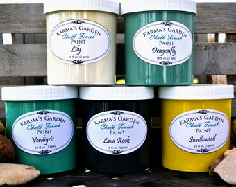16 oz. size (1 pint) - Choose any of our 17 colors! Karma's Garden Chalk Finish Paint -