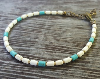 Blue and White Beaded Anklet with Gold Seed Beads and Brass Extension Chain, Simple Anklet, Mediterranean Boho-Chic Anklet, Cylinder Beads