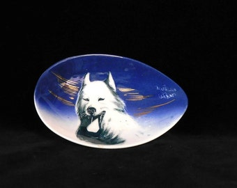 Hand painted Husky plate-- Alaska Line California Pottery, signed Matthew Adams