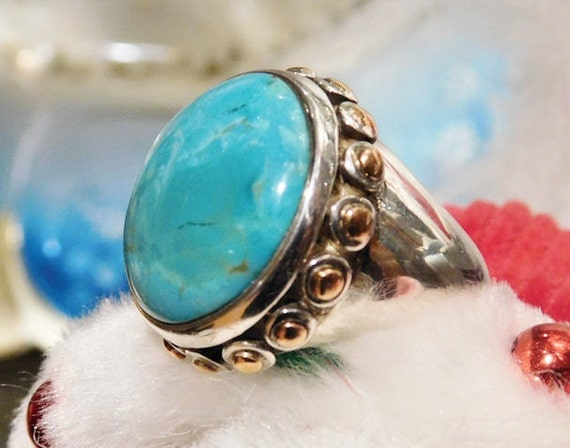 Turquoise Ring BARSE Sterling Silver Statement Modernist Vintage Ring Southwestern Western Gemstone Gem BOHO Bold Chunky Turquoise Copper