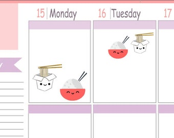 Kawaii Itty Bitty or ECLP Size  Chinese Takeout Planner Stickers To Use With Erin Condren Planner