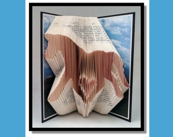 007  Folded Book Art: Heart Horse, book sculpture, paper folding, paper anniversary, book origami, altered book, paper sculpture.