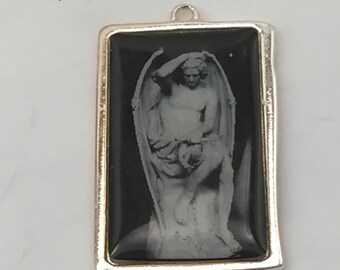 TWO Vintage pendant, roman statue pendant, black and gray, silver setting FREE SHIPPING
