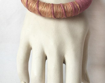 Cotton and Wool Wood Bangle Bracelet Dusty Rose With Gold  Hand-Dyed Boho