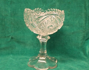 """Vintage Pressed Glass clear sawtooth edge glass COMPOTE 7"""" high Pedestal Candy Dish EAPG Pattern Glass"""