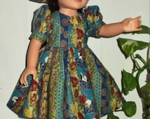 """18"""" doll dress with matching hat and panties, short sleeve doll outfit, multi-color 3 piece doll clothes, turquoise doll dress"""