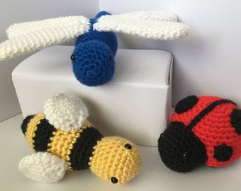 Crochet Pattern - Lady Bug, Bumble Bee, and Dragonfly