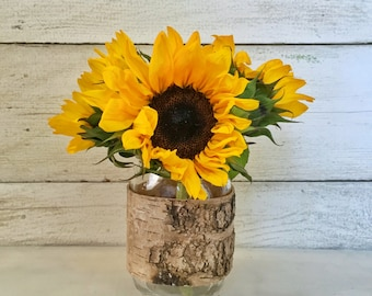 Rustic Mason Jar Vase Birch Bark Wood Vase, Country Chic Mason Jar Centerpiece, Wedding Mason Jar, Rustic Wedding Centerpiece, Wedding Decor