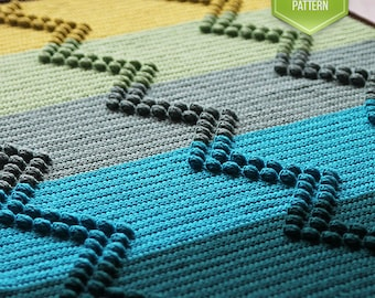 PDF crochet pattern - Charlie ripple crochet newborn baby blanket - instant download - modern baby blanket - wave
