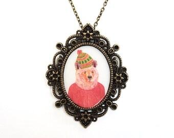Bear necklace, Bear jewelry, Animal necklace, Animal jewelry, Woodland animal