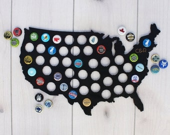 Beer Lover Gift, Personalized Bottle Cap Map, Beer Cap Map, Beer Gift for Couple, Wedding Gift, Initials, Beer Art, Black --SIGN-CHK-USACAP