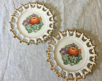 Vintage Napco Fruit Plates with Gold Trimmed Fleur De Lis Edge, Set of 2