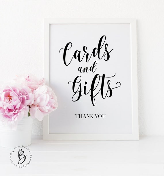 Wedding Gift Card Sign : Cards and Gifts Sign Gift Table Sign Cards and Gifts