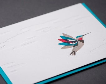 Hummingbird Letterpress Greeting Card