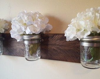 Rustic Mason Jar Wall Organizer, Reclaimed Pallet Wood, Flower Vase, Rustic Wall Decor