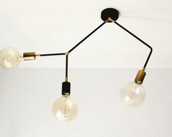 Modern Vintage Sputnik 3 Arm Ceiling Flush Mount / Mount Ceiling Light Fixture - Edison Bulb
