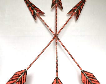 Metal Arrow Wall Decor - Coral/ or Pick Color - Decorative Arrows - Bohemian Wall Art - Rustic Arrow Decor - Arrow Wall Hanging - Cast Iron