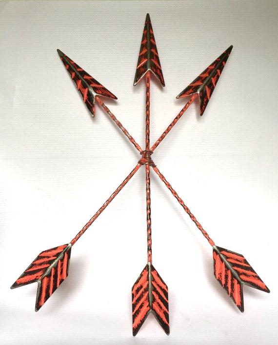Glass arrow wall decor : Metal arrow wall decor coral or pick color decorative