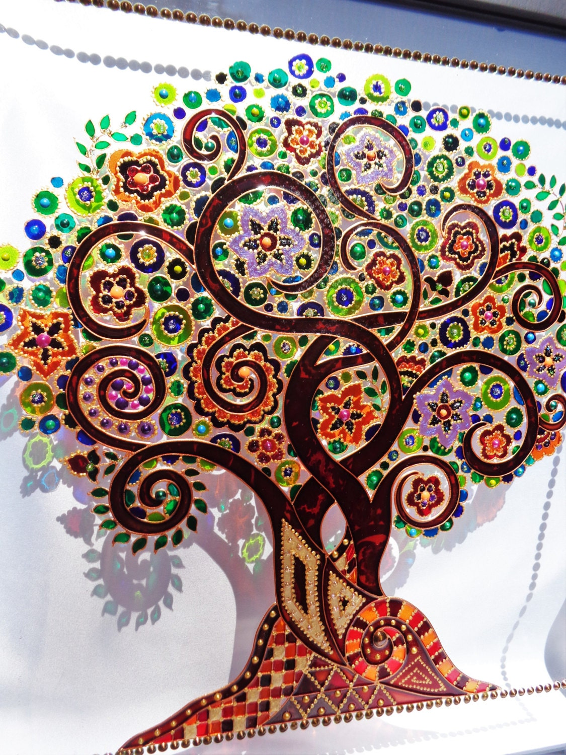 Tree of life art 15x15 glass painting wall decor Mural glass painting