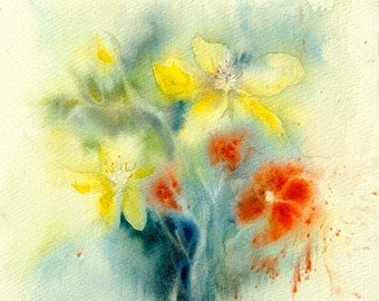 Original watercolor of yellow and red flowers - floral original painting - decoration idea - Christmas gift