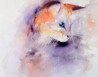 Cat watercolor, Original cat painting, Watercolour, Watercolor,  cat, Original watercolor