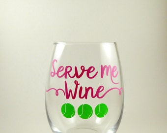 Serve Me Wine Stemless Wine Glass, Great Gift for Tennis Players, Tennis Wine Glass, Tennis Glass Pink Green, Captain's Gift