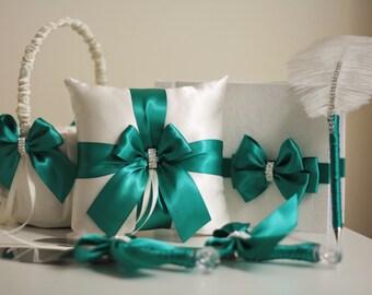 Green Ring Bearer Pillow \ Emerald Flower Girl Basket \ Emerald Wedding Pillow \ Green Wedding Basket \ Green Guest book \ Green Cake Server