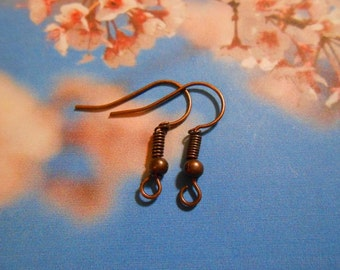 20 red copper ear wires. 10 pairs ear wires. Tarnish resistant steel earring wires. Hypoallergenic ear wires. Destash Jewelry Supplies.
