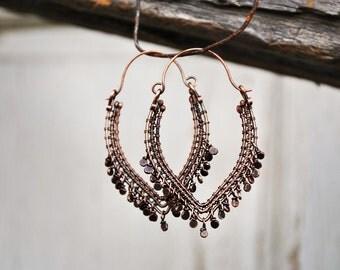 Boho copper earrings, Wire-wrapped earrings, Copper wire earrings, Gypsy earrings, Hippie earrings, Bohemian earrings, Wire-woven earrings