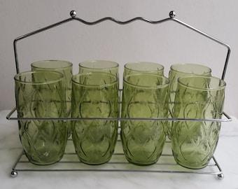 Vintage Green Glass High Ball, Juice glasses