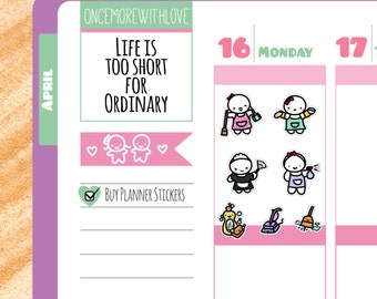 Munchkins - Cleaning and Chores Reminder Planner Stickers (M37)