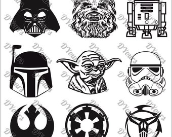 Star Wars Characters - 9 Vector Models - Vector Collection svg cdr ai pdf eps files Instant Download Files for Laser Cutting Printing