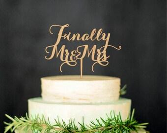 Finally Mr Mrs Wedding Cake Topper Wood Cake Topper Custom Wedding Topper