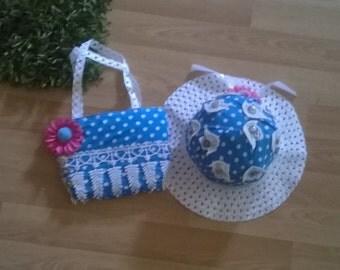 1 x straw hat 1 x handbag, handmade,