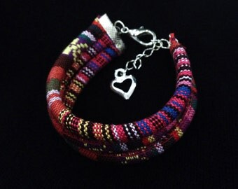 Bracelet made of fabric with indigenous design
