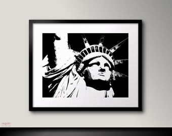 Statue of liberty, America print, Black and white wall art, Liberty print, America poster, Black and white art, Printable wall art,Art print