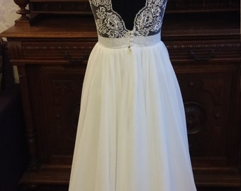 SALE Boho Vintage Inspired Wedding Dress with Lace Corset, Open V cut Lace Transparent Back, Illusion Neckline, Chiffon Skirt