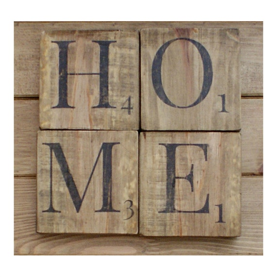 Wooden Words Wall Art : Home sign wooden scrabble letters wood wall art reclaimed