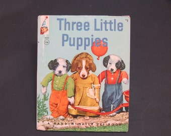THREE LiTTLE PUPPIES  vintage Rand McNally Elf A Real Live Animal Book Ruth Dixon,dogs 1963 VG