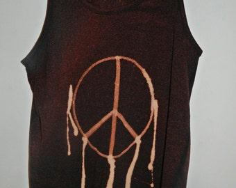 Tie Dye acid wash vest top sleeveless Tshirt hipster festival grunge Retro punk PEACE SYMBOL 80s 90s indie dip dye indie skate rave tank top