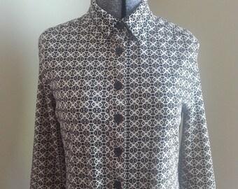 Black Cream Geometric Print Long Sleeves Polyester Dress