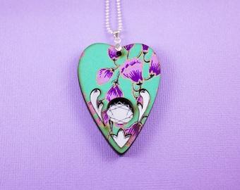 Mint and Purple Planchette Mirror Necklace
