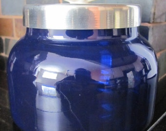 Blue Glass Container with Lid
