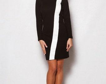 Short Dress, Formal Dress, Black White Dress, Black Fashion Clothing, Pleated Dress, Midi Dress, Little Black Dress. Knee Length Dress