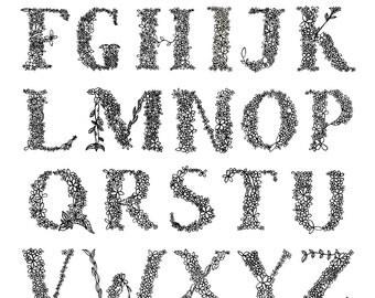 Floral Alphabet || A4 Print