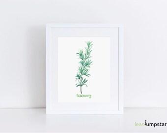 Rosemary Print, Kitchen Herb Prints, Botanical Herb Prints, watercolor kitchen prints, Minimalist Kitchen Print, Herb Wall Art, rosemary art
